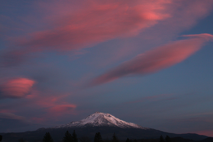 Pink clouds at dusk over Mt Shasta