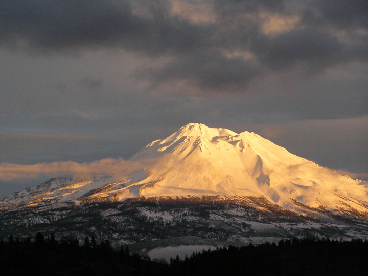 Golden light on Mt Shasta